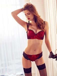 吕氏春天内衣红色蕾丝文胸套装