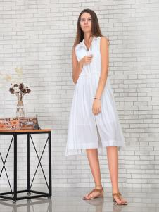英吉蘭依女裝白色無袖連衣裙