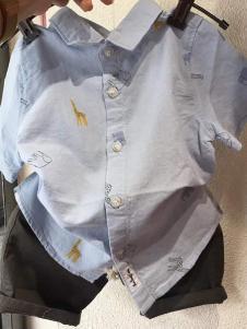 三年七班童装蓝色休闲衬衫