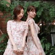 LANCY朗姿女装2018夏季新品粉色的夏天