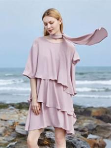 蜜思提女装粉色叠层连衣裙