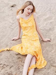 蜜思提女装黄色吊带连衣裙