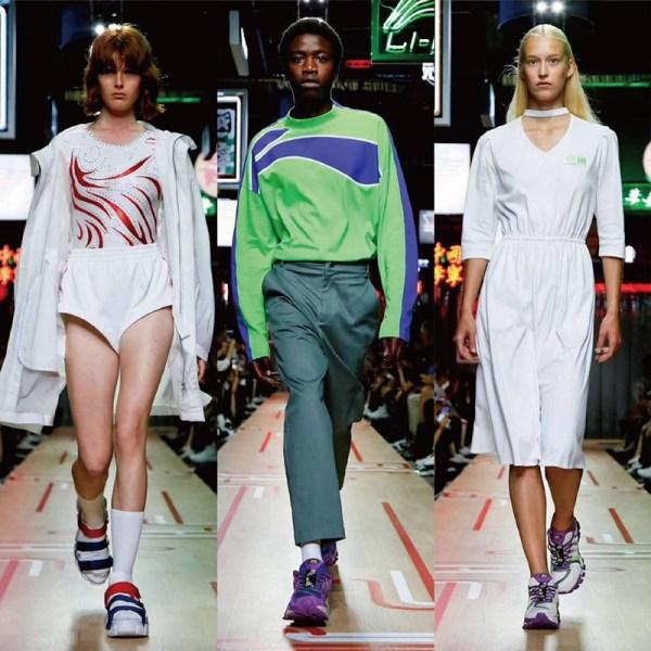 以体操表演服为灵感设计的<a href=http://www.fuzhuangrc.cn/news/info37921.html>外套</a>与衬衫,有趣也有型,几何印花衬衫既东方又时髦,手提包、胸包街头感十足,经过千禧一代麻豆的展现,年轻与活力感袭来。