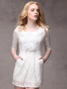 SwKzii女装白色蕾丝连衣裙