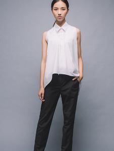 MAISON MAI 女装白色无袖翻领T恤