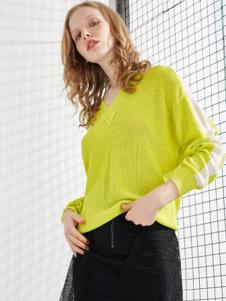 chaurising女装黄色V领针织衫