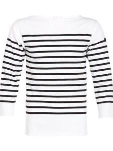 Saint James女装半黑白条一字领长袖T恤