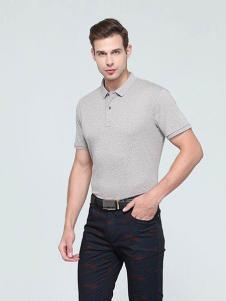 迪拉格男装浅灰短袖T恤