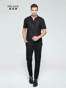 迪拉格男装黑色立领T恤