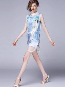 SwKzii女装蓝色雪纺连衣裙