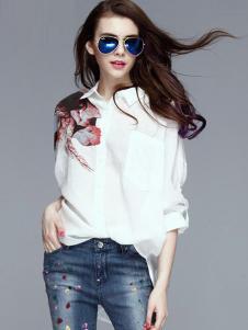 SwKzii女装白色印花衬衫