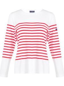 Saint James女装一字领半白底红条T恤