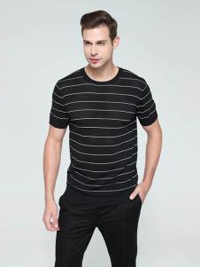 迪拉格男装黑色条纹T恤