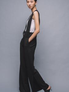 MAISON MAI 女装黑色休闲背带裤