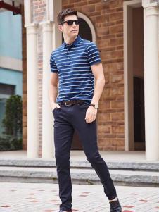 迪拉格男装藏青条纹T恤