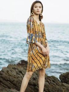 Tynuhea女装黄色条纹连衣裙