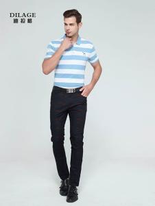 迪拉格男装蓝白条纹T恤