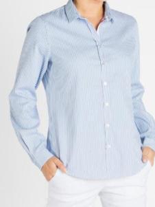 Saint James女装浅蓝条纹衬衫