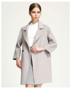 茉束女装米白色单排扣大衣