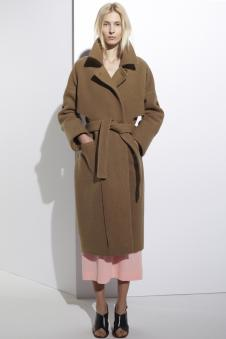 茉束女装深卡其色系带大衣