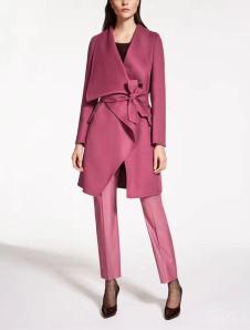 茉束女装梅红系带不规则风衣