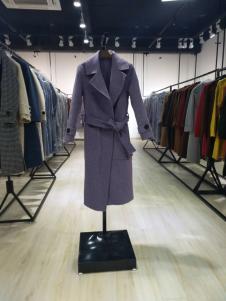 茉束女装蓝色休闲系带大衣