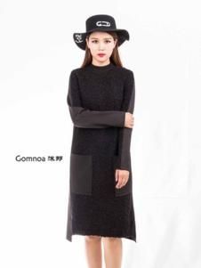 沫那女装黑色针织连衣裙