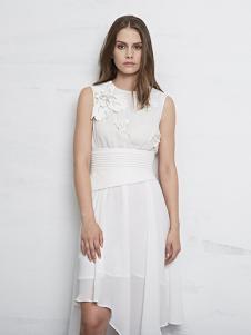 D+女装白色无袖连衣裙