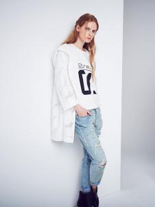 D+女装白色休闲外套