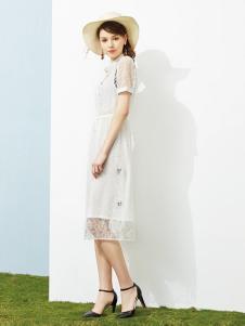 澜茨女装白色蕾丝连衣裙