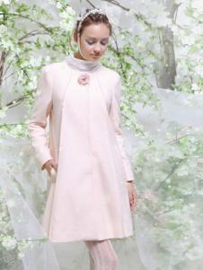 FPT女装粉色圆领毛呢大衣