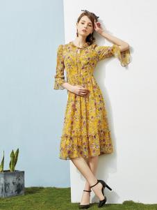 澜茨女装黄色碎花连衣裙