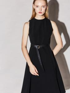 Miss Doris女装黑色无袖连衣裙