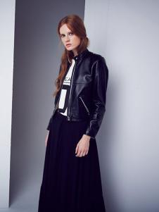 D+女装黑色立领皮衣外套
