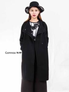 沫那女装黑色宽松大衣