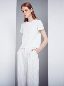 DEA+Roze女装白色圆领T恤
