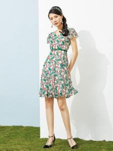 澜茨女装绿色碎花连衣裙