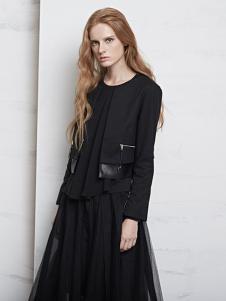 D+女装黑色休闲圆领外套