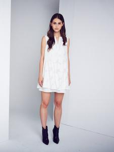 DEA+Roze女装白色无袖连衣裙