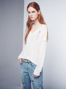D+女装白色针织破洞T恤