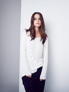 D+女装白色修身上衣