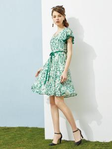 澜茨女装绿色修身连衣裙