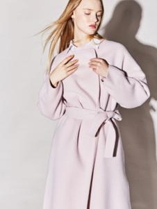 Miss Doris女装蜜粉色系带大衣