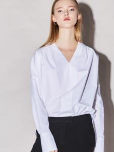 Miss Doris女装白色V领衬衫