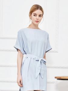 伊魅玲女装蓝色系带连衣裙