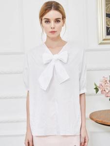 伊魅玲女装白色蝴蝶结T恤