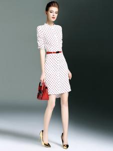 海青蓝女装白色红点连衣裙