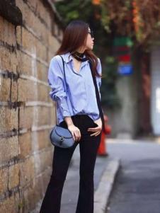 E'DIAN女装蓝色休闲衬衫