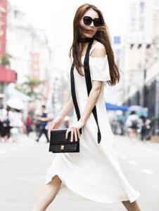 E'DIAN女装白色露肩连衣裙