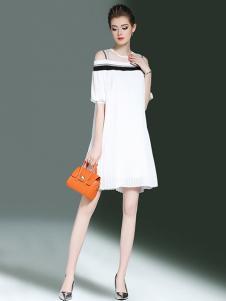 海青蓝女装白色露肩连衣裙